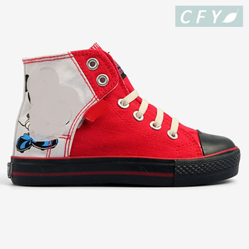 1a144da0 Red Canvas Upper High Top Boys Casual Shoe Factory Wholesale High Cut Kid  Shoe
