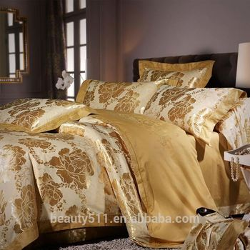 300TC Luxury High Quality 100% Cotton Satin Printed Silk Bed Sheet For Bridal Wedding Linen Bedding Set BS454