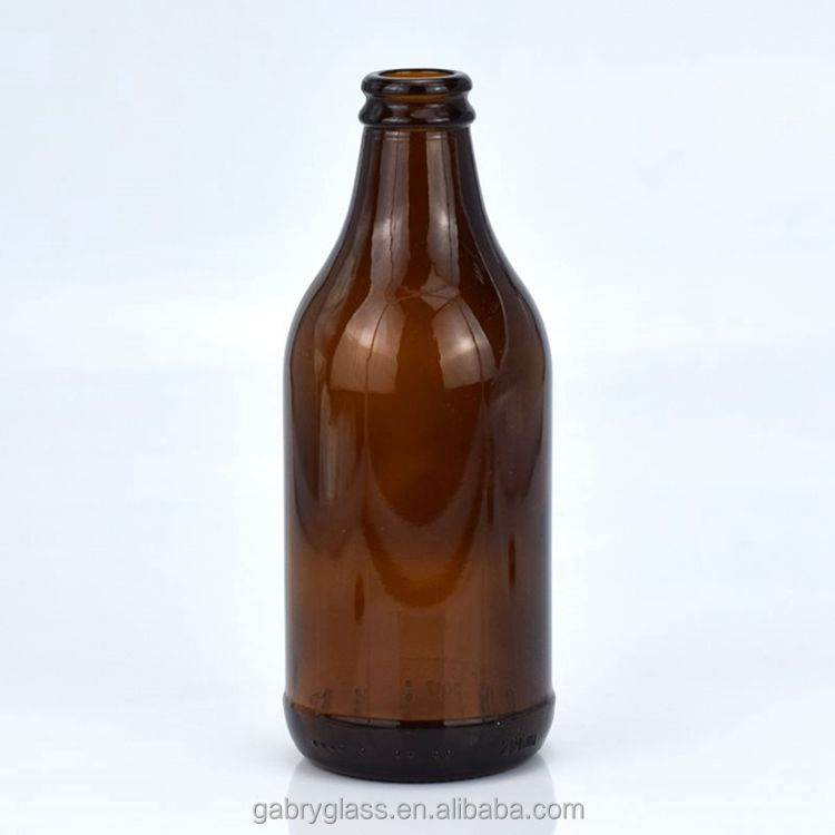 wholesale empty 300ml glass amber beer bottle with crown cap