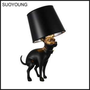 Modern Fancy Cute Dog Animal Shade Christmas Table Lamps,decorative luxury black table light for hotel