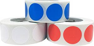 """Craft Decoration Color Coding Dot Stickers - Hot Orange Navy Blue and White - 1,500 Total 0.75"""" Inch Round Adhesive Labels"""