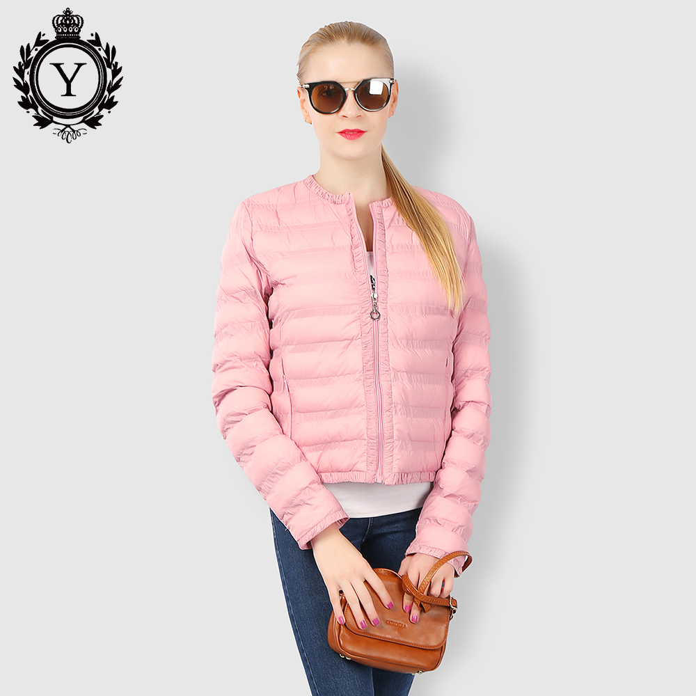 2017 Bulk Wholesale Pretty Lightweight Portable Women Pink Winter Down Jacket