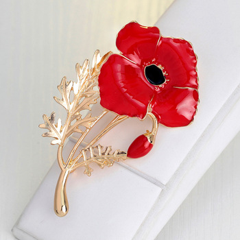 f4212e3c6b8 Wedding Red Poppy Flower Brooches Pins Fashion Jewelry Brooches Kate  Princess Memorial Enamel Brooches for Women