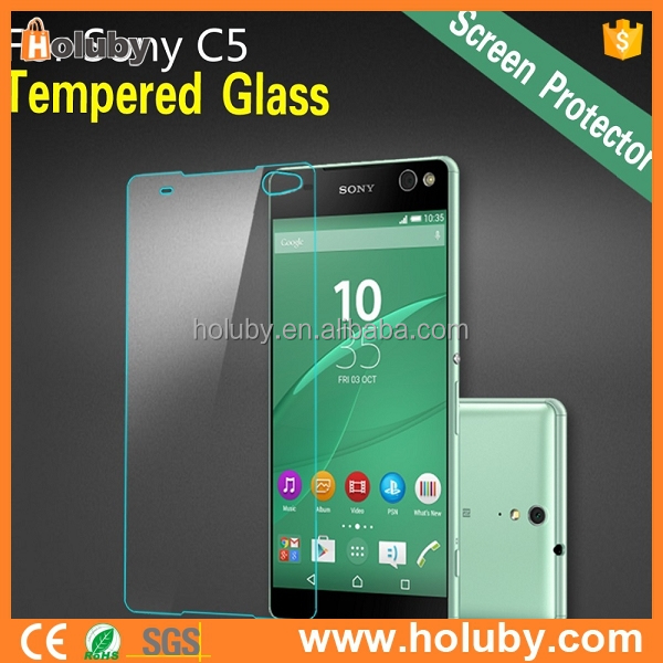 2015 Newest 9H 2.5D 0.2mm custom premium mobile phone tempered glass screen protector for Sony Xperia C5 Ultra