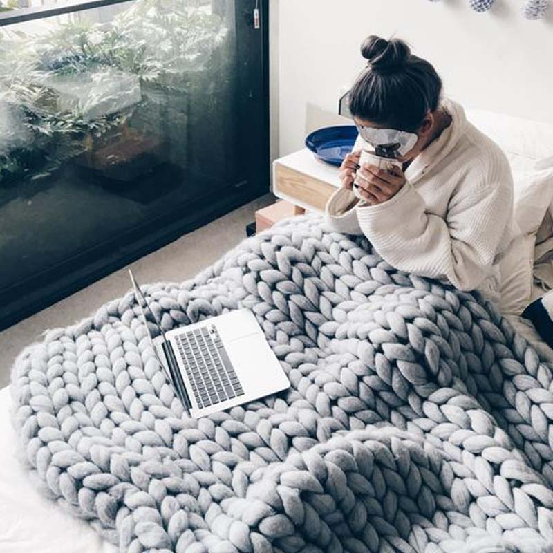 Good quality Hand Knitting giant knit chunky blanket