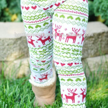 wholesale christmas leggings kids warm leggings girls high knitted cotton reindeer print boots clothes