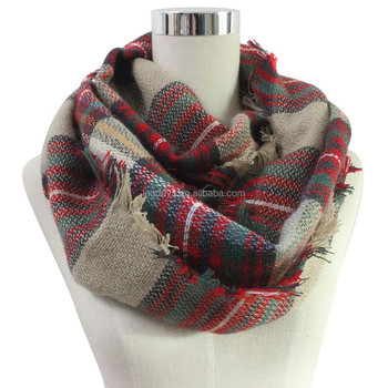 Tartan plaid fringe fashionable blended cotton acrylic infinity scarf