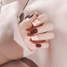24 шт./компл. стильные накладные ногти винно-красные накладные ногти художественные советы акриловые накладные ногти полное покрытие маникю...(Китай)