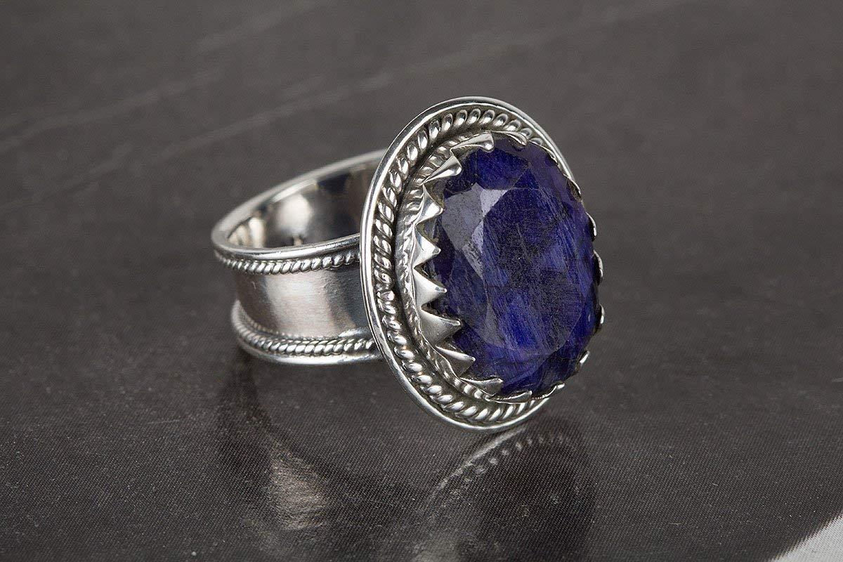 Sapphire Ring, 925 Sterling Silver, Blue Color Gemstone Ring, Custom Ring, September Birthstone Ring, Antique Style Ring, Artisan Ring, Kyanite Ring, Bridesmaid Jewelry, US Ring Size 3-15 (Standard)