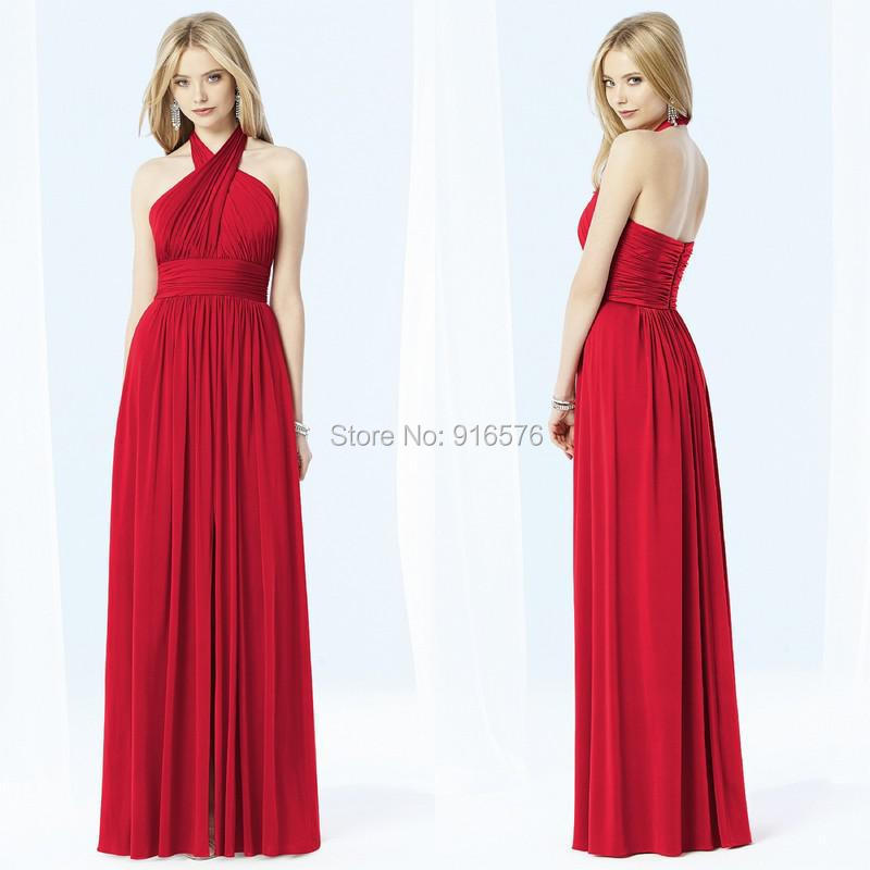 Halter Ruched Red Chiffon Bridesmaid Dresses 2015 A Line Maid of Honor Dresses High Waist Sleeveless Bridal Gowns Custom Made