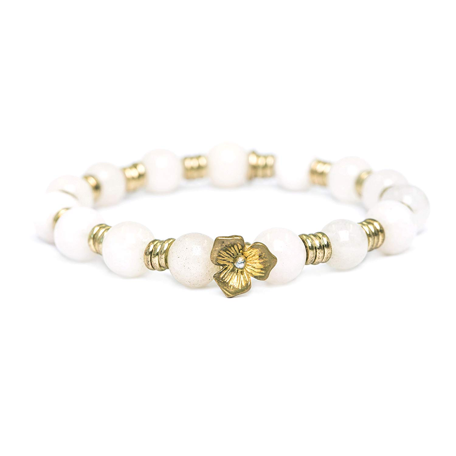 tom+alice Natural Gemstone 8MM Healing Beads Reiki Chakra Stretch Beaded Bracelets with Middle Ornament Womens Fashion (White Jade Gold Flower)