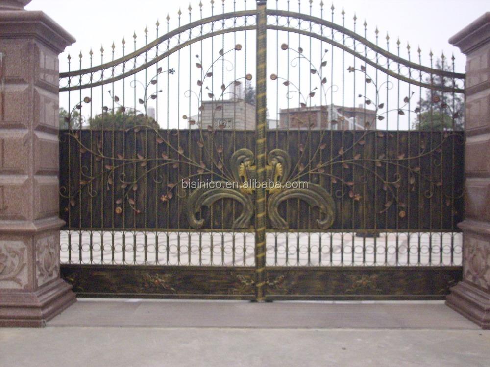 Bisini sliding design iron gate sliding main gate design for A t design decoration co ltd