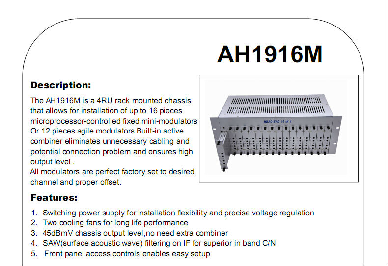 [Skype account: softel009 ]AH1916M 47-860Mhz digital rf modulator 16 channels with RCA input connectors