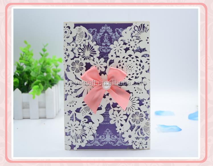 Vintage Wedding Invitation Card Laser Cut White Hollow Flowers Blank
