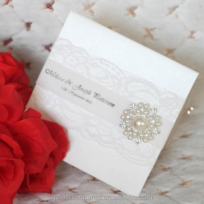 2014 White Elegant Wedding Cards Invitations With Rhinestone Buckle ...