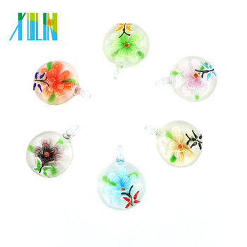 2017 Hot sale Daughter Gift Flat Round Lampwork Fused Glass Flower Pendants 12pcs/box, MC0032