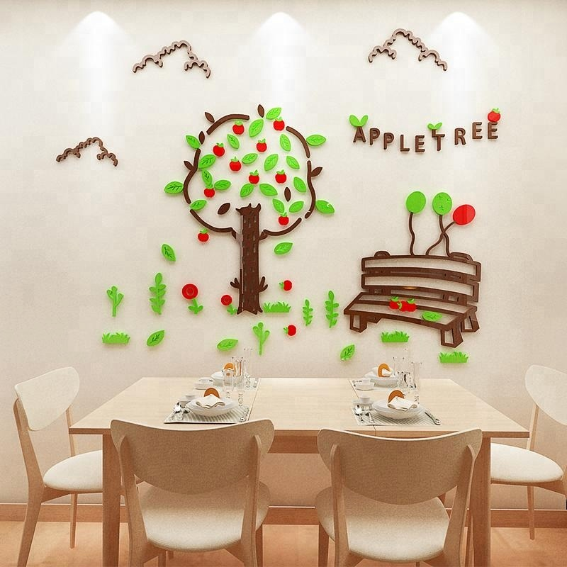 apple tree 3d acrylic wall sticker for home decoration made in china