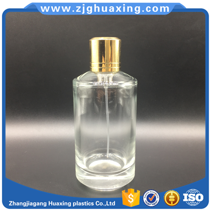100ml classic design style cylinder Screen Printing glass perfume bottle for wholesale golden uv-galvanized perfume screw cap