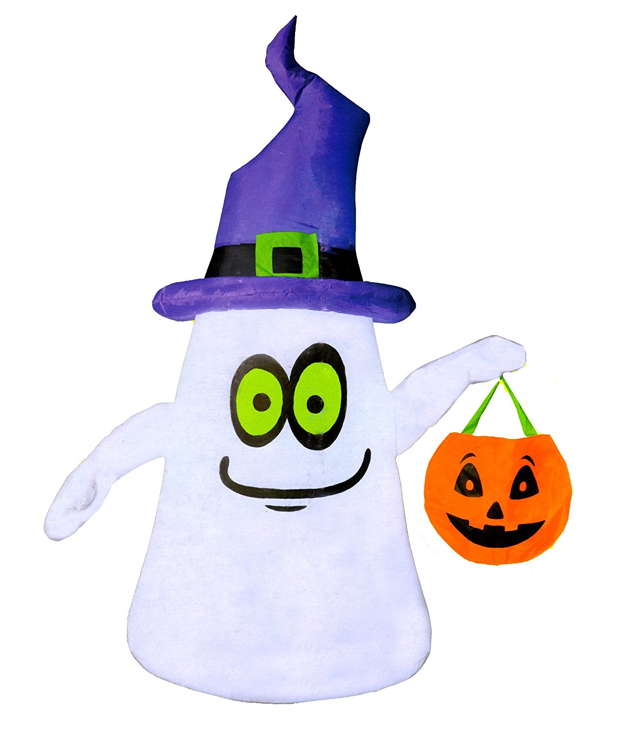 bc7569b5edb Get Quotations · Home Accents Five Foot LED Ghost With Witch Hat Airblown  Inflatable