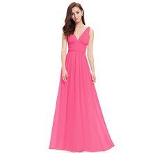 Vestido Fiesta Mujer Ever Pretty A Line длинное шифоновое платье с v-образным вырезом для свадебной вечеринки элегантные королевские синие платья подружек н...(Китай)