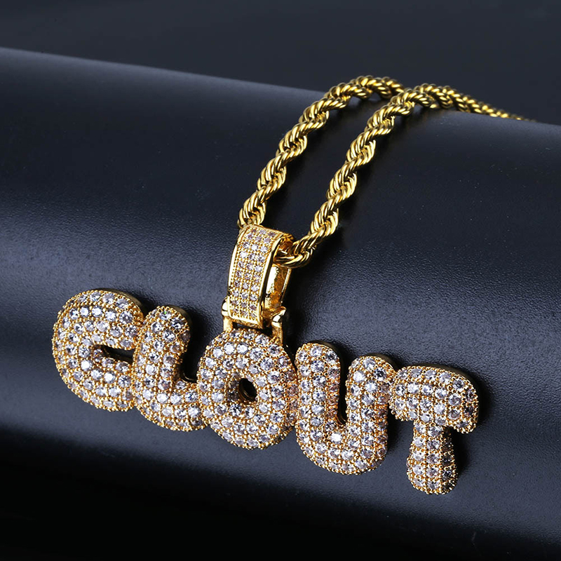 Hip 홉 Brass Men Women Charm Jewelry 금 은 아이스티 Out Micro Pave CZ 영향력 Bubble letter 펜 던 트 Necklace (KHP060)