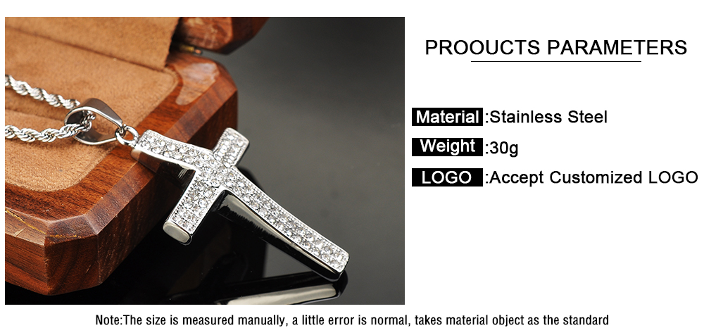 Latest Cheap Jewelry Stainless Steel Cross Micropave Pendant