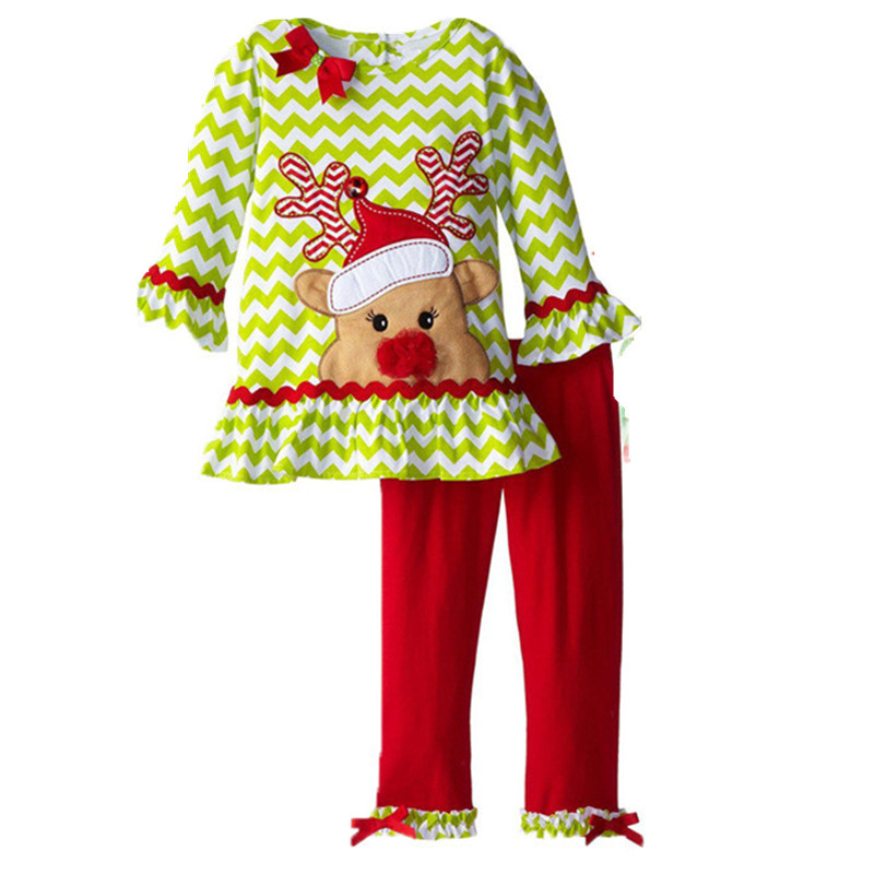 Children\'s Clothing Sets Girls Ruffle Christmas Dress Outfits ...