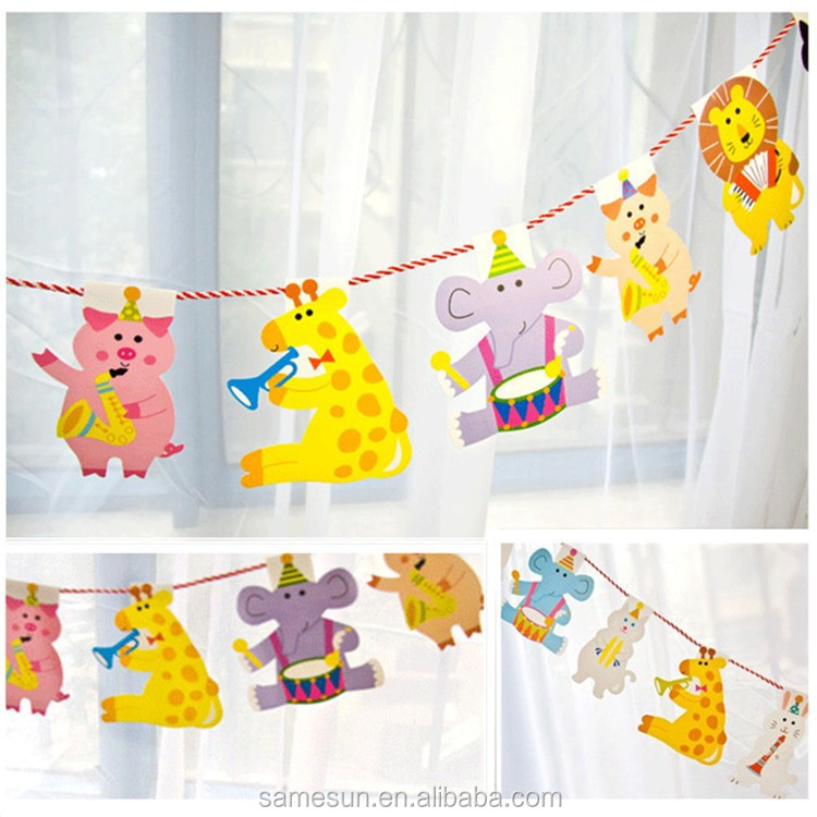 Meilun Art Crafts Cartoon Animal Hanging Paper Garland for Birthday Decoration