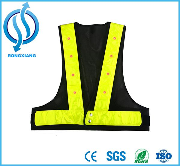 Hot Selling Hi Vis Fleece Fabric Neon Reflective Safety Vest for Police Uniform in Night