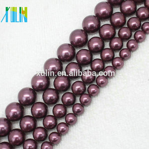 AAA 6-14mm Deep Purple Natural South Sea Shell Pearls Round Beads Necklace