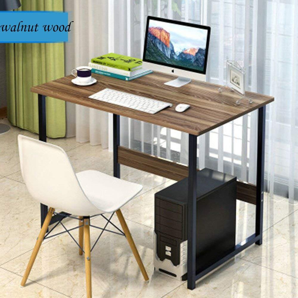 FKUO Computer Desk Simple Style PC Laptop Sturdy Table Study Office Table Corner Computer Office Desk home desk computer desk table (12055cm, walnut wood)