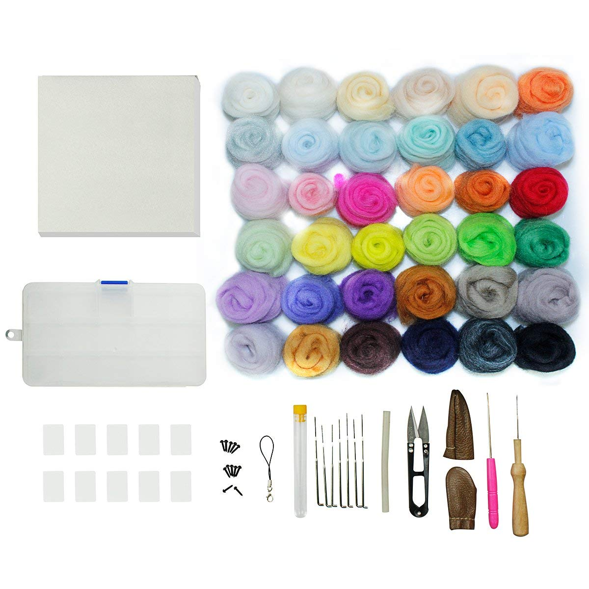 16 Colours Wool Fibre Materials Spinning Craft Materials Starter Kit Needle Felting Hand Spinning Materials Wool Felt Tool Set