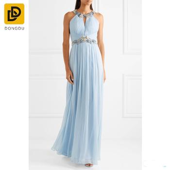 acbc9cf52e5 Custom design sky-blue embellished maxi dress long chiffon maxi dress