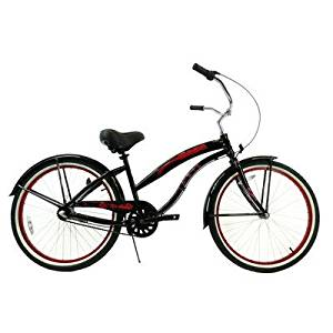 Women's 3 Speed Aluminum Beach Cruiser Frame Color: Black with Red Wheels