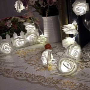 20 LED Battery Operated String Flower Rose Fairy Light Wedding Decorations