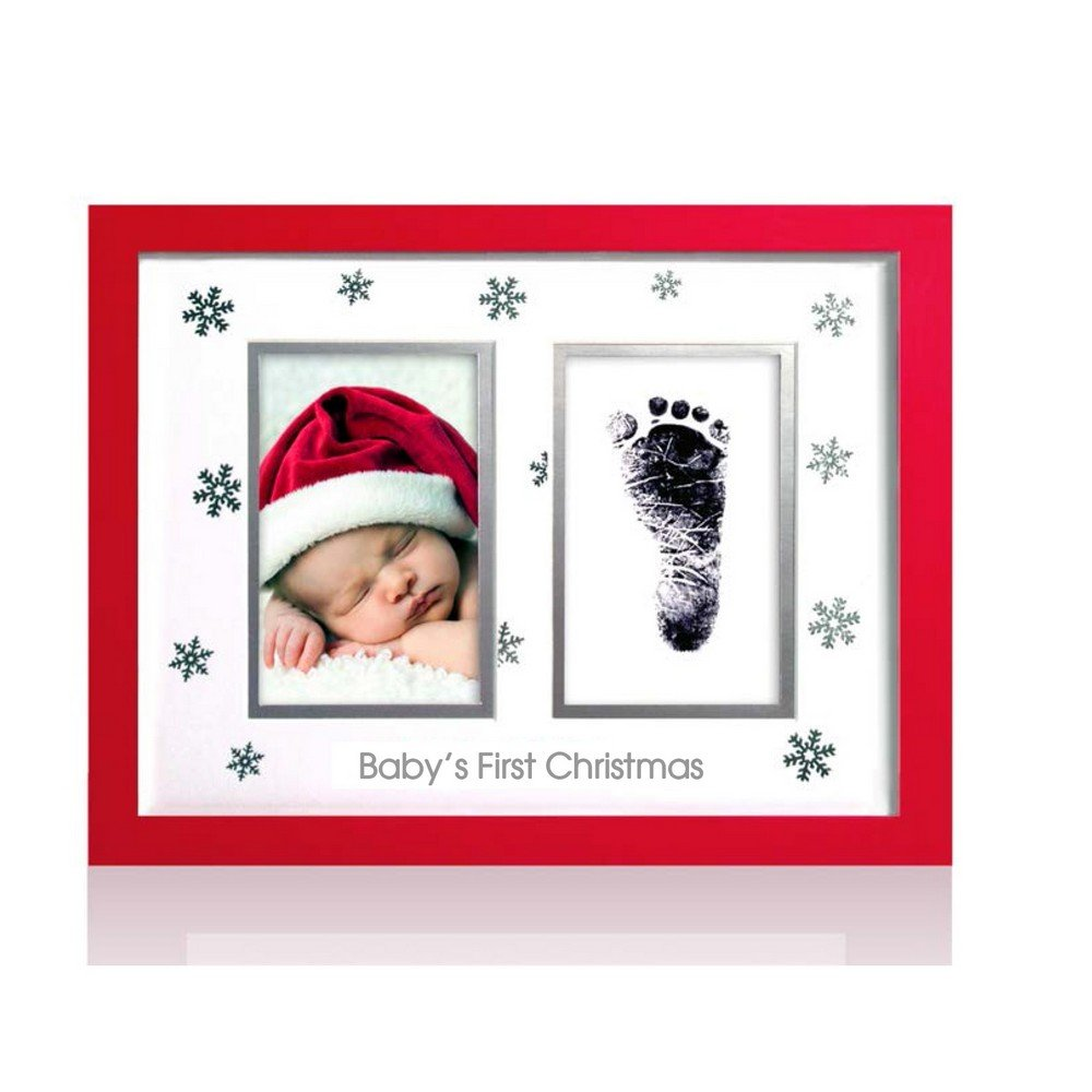 Pearhead Babyprints Newborn Baby Handprint Or Footprint Christmas Frame with Clean Touch Ink Pad - Makes A Perfect Holiday Gift , Red
