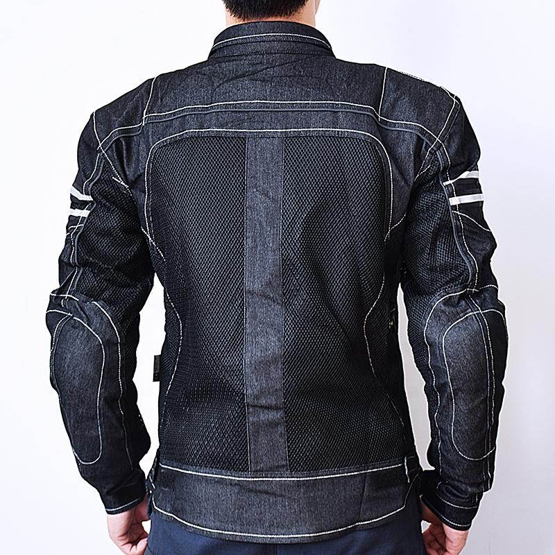 SSPEC Men Moto Clothing Komine JK-006 Motorcycle Jacket Breathable Mesh Riding Racing Motocross Denim Jacket With Protector Pads
