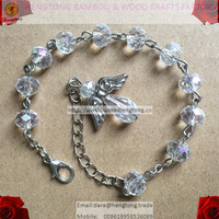 AB coated crystal bead rosary bracelet, crystal bracelet, fashion bracelet with angel wing pendant