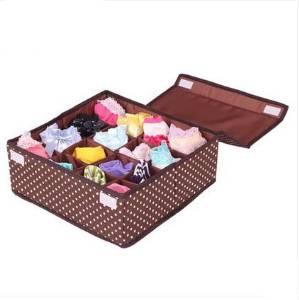 Cloth 16 grid Underwear storage box Washable Underwear sorting box Covered Socks storage box storage box coffee