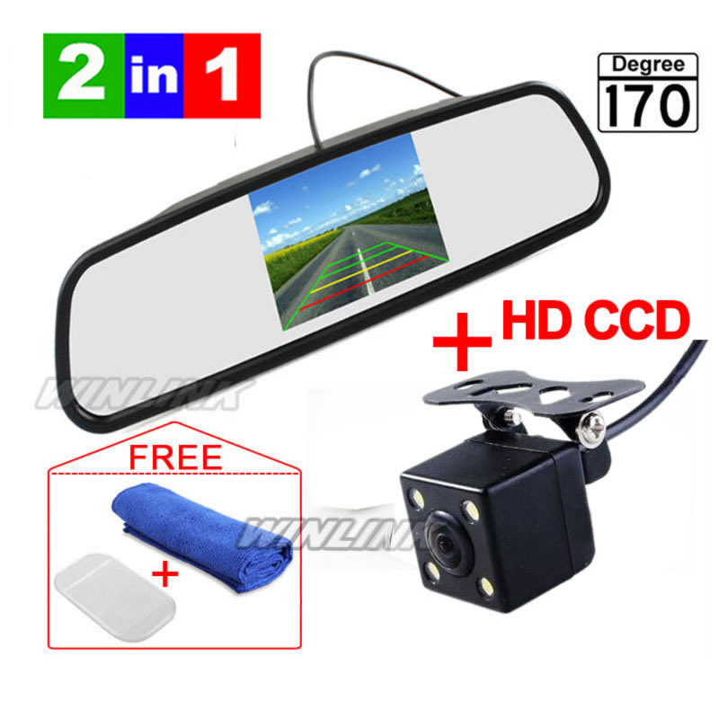 New IR LED Night Vision Car Rear View Camera With 4.3 inch Color LCD Car Mirror Monitor Free Shipping