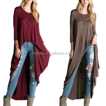 4b945550a0c64 American Women Apparel Long Maxi Tunics Plus Size Loose Fit High Low Duster  Tunic Top In