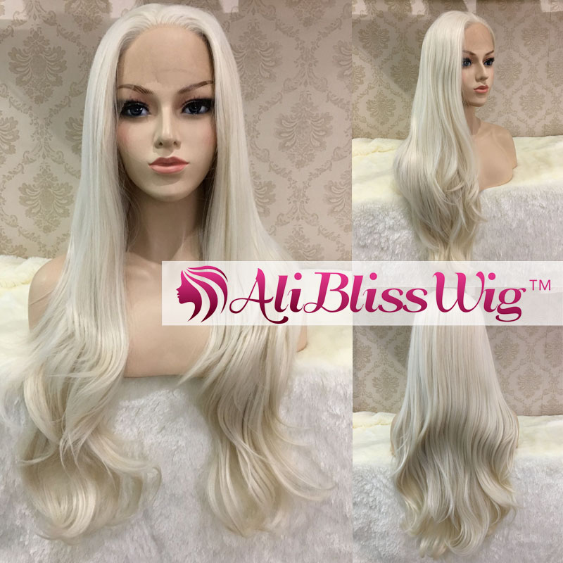 "Fashion Heat Resistant Fiber Hair 22"" Long Natural Straight #60 Platinum White Blonde Synthetic Lace Front Wig for White Women"