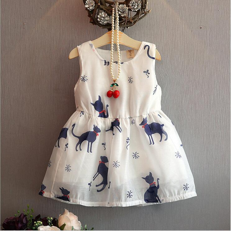 2016 summer kids baby girls font b dress b font cute cat print sleeveless font b