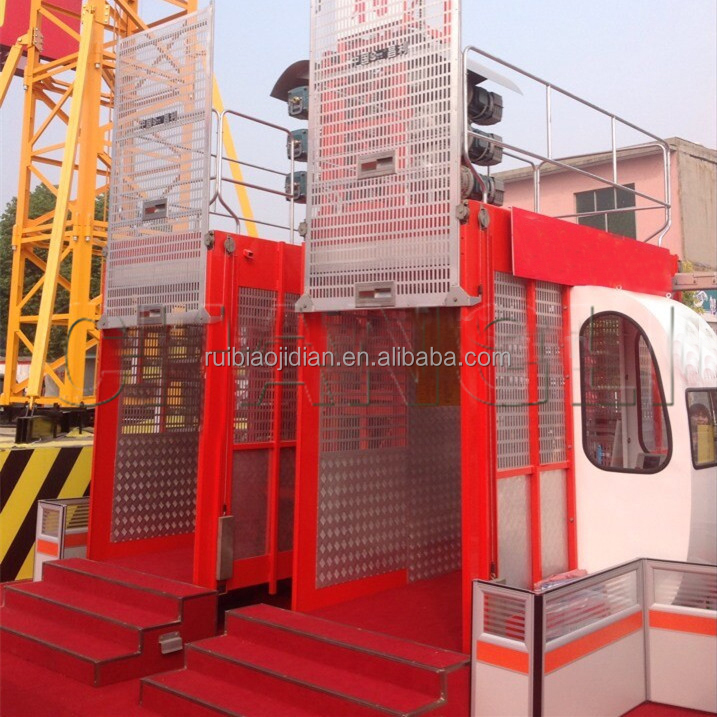 2T double cage passenger hoist manufacturer / SC200/200 passenger used construction hoist