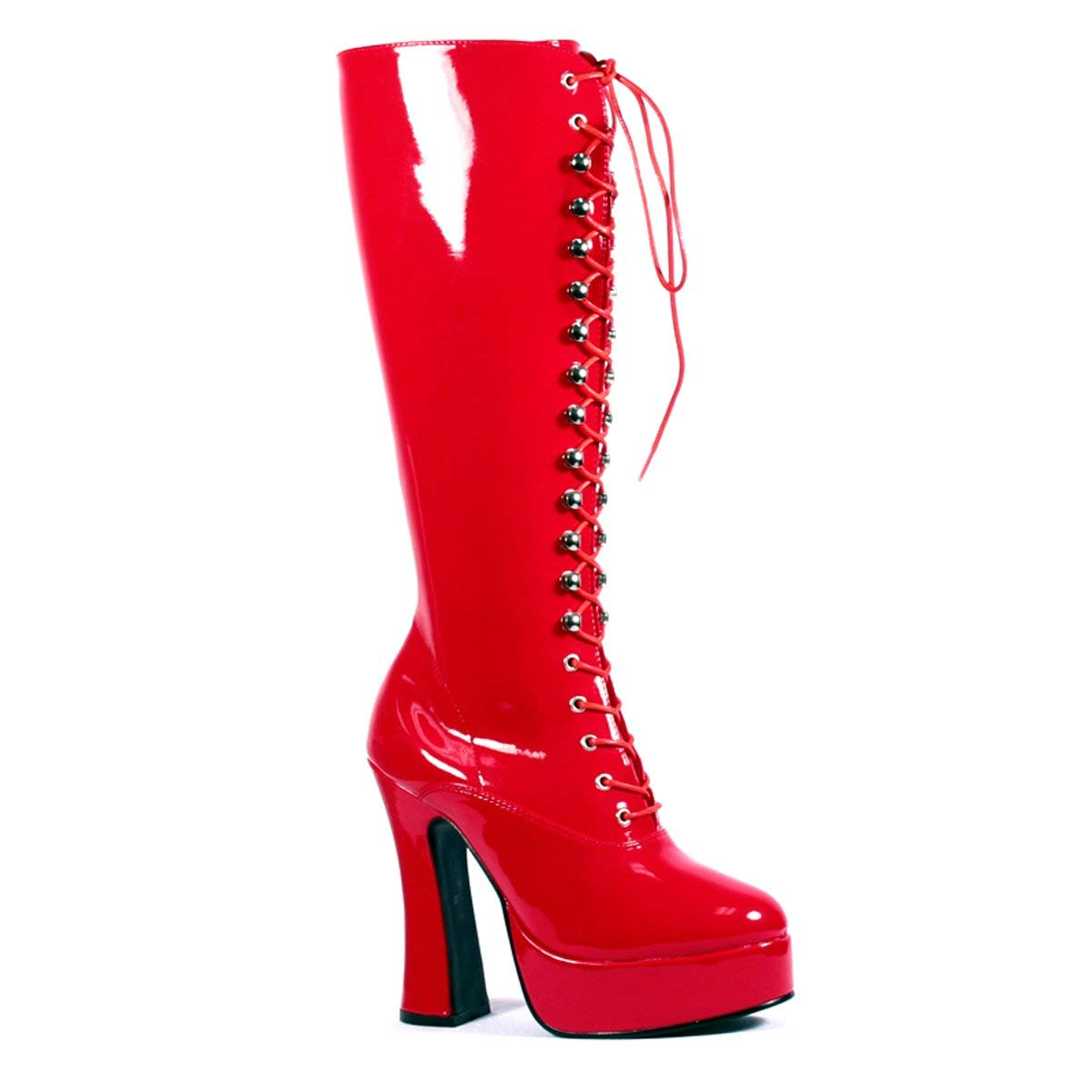 726be31351b Get Quotations · Summitfashions 5 Inch Sexy Knee High Boots With Zipper  Chunky Heel Platform Red