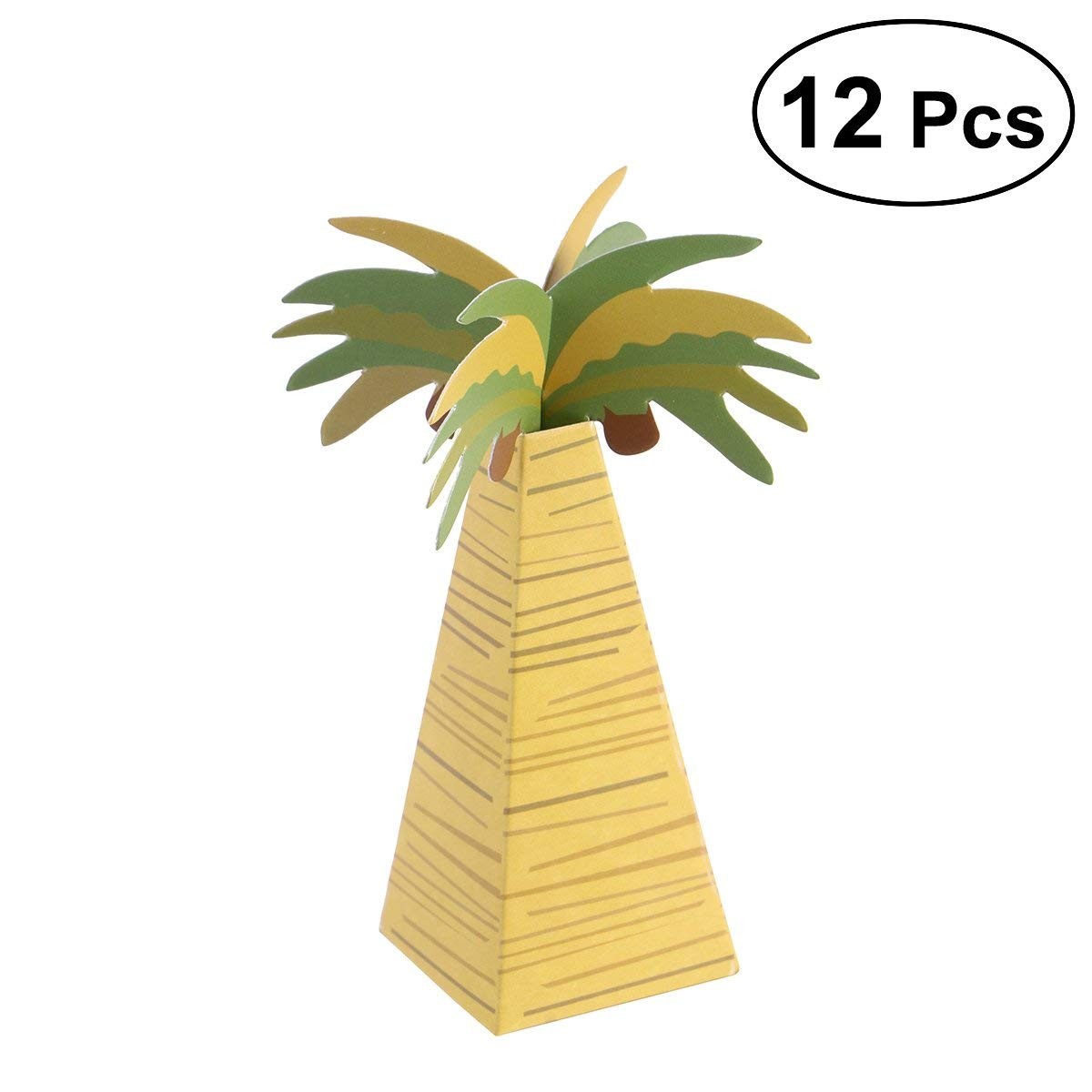 12 Pcs Candy Boxes Chocolate Gifts Box Tinksky Hawaiian Style Coconut Tree Paper Box for Wedding Party Favors
