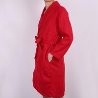 Durable Red western coral fleece men wholesale fancy bathrobe