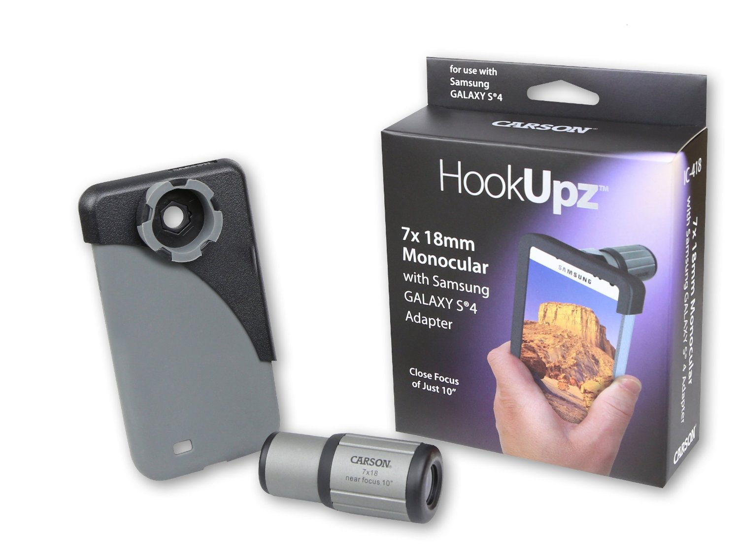 Carson HookUpz iPhone 4/4S/5/5S/SE, iPhone 6/6S, iPhone 6 Plus/6S Plus or Samsung Galaxy S4 Digiscoping Adapters with Close Focus 7x18mm Monocular (IC-518, IC-618, IC-618P, IC-418)