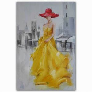 Abstract elegant lady in dress beautiful sexy hat figure painting woman