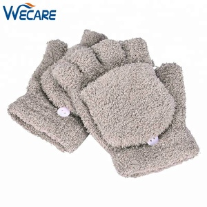 Women Winter Outdoors Fingerless Girls Cute Fluffy Hand Wrist Warm Soft Winter Fingerless Mitten khaki Gloves